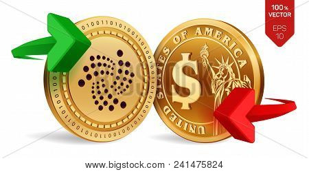 Iota To Dollar Currency Exchange. Iota. Dollar Coin. Cryptocurrency. Golden Coins With Iota And Doll