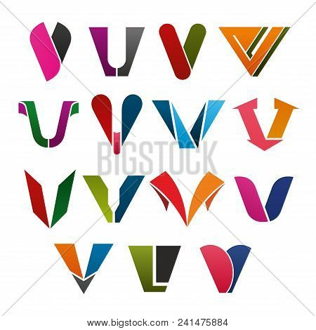 V Letter Icons Set For Technology Industry, Art And Design Or Commercial Corporation Company Or Bran