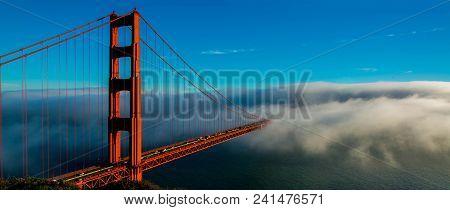 Golden Gate Bridge Being Covered By Fog, San Francisco, California