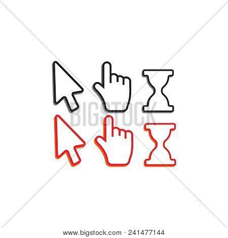 Pixel Cursors Icons. Hand Arrow Web Cursor Vector