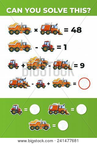System Of Equations With Trucks. A Math Game For Kids. Vector Eps10