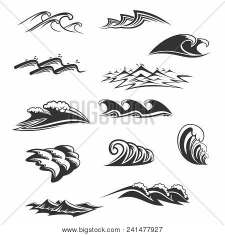 Ocean Waves Signs Black And White Colors Isolated On White Background. Vector Set With Sea Waves And