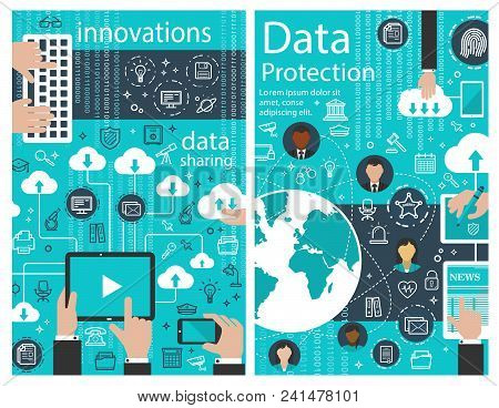 Data Protection Poster Of Internet Digital Innovations For Web Cloud Information Transfer. Vector Cl