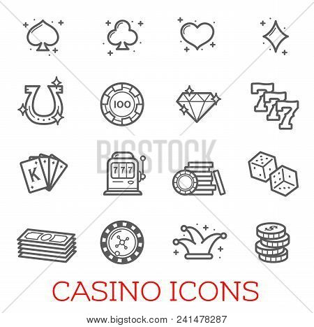 Casino Vector Icons Set. Concept Of Real Money Casino Or Poker Game, Lucky Seven And Gambling Chips