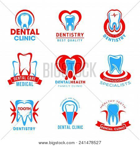 Set Of Dental Clinic Vector Icons Isolated On White Background. Dental Service Vector Emblems For De
