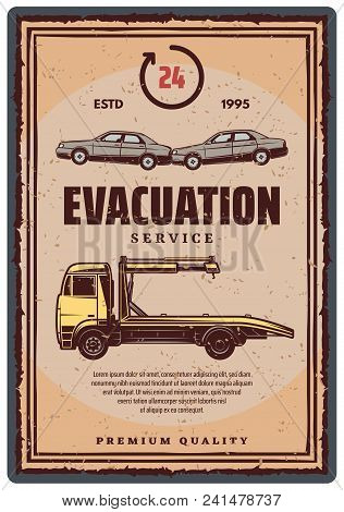 Wrecker Truck With Evacuated Car Retro-style Poster. Towing Truck Evacuation Service Vintage Symbol.
