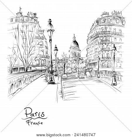 Vector Black And White Hand Drawing. Bridge Across River Seine Pont Louis Philippe Near The Ile De L
