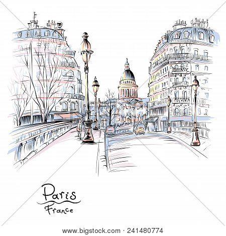 Vector Hand Drawing. Bridge Across River Seine Pont Louis Philippe Near The Ile De La Cite In The Wi