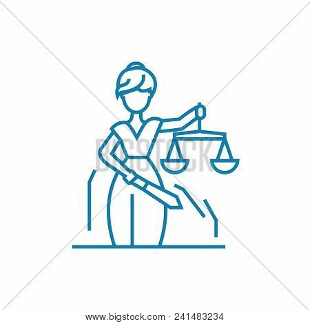 Justice System Line Icon, Vector Illustration. Justice System Linear Concept Sign.