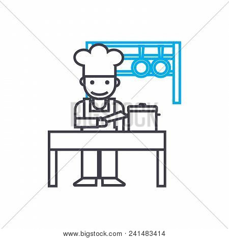 Kitchen Staff Line Icon, Vector Illustration. Kitchen Staff Linear Concept Sign.