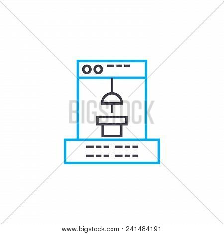 Manufacturing Software Line Icon, Vector Illustration. Manufacturing Software Linear Concept Sign.