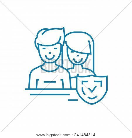 Married Couple Line Icon, Vector Illustration. Married Couple Linear Concept Sign.