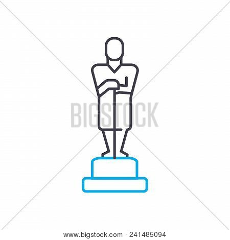 Monument On The Pedestal Line Icon, Vector Illustration. Monument On The Pedestal Linear Concept Sig