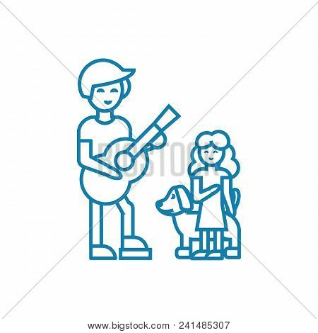 Musical Performance Line Icon, Vector Illustration. Musical Performance Linear Concept Sign.