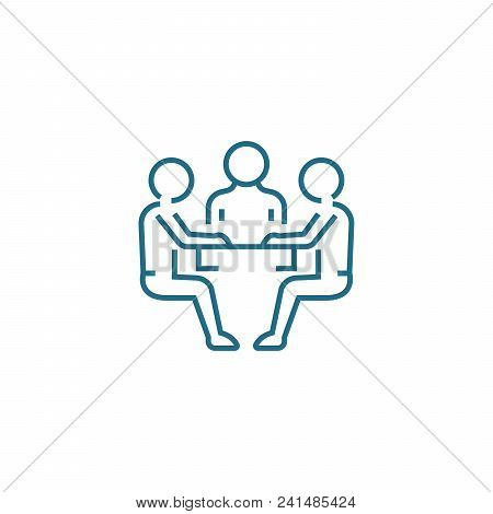 Negotiating Table Line Icon, Vector Illustration. Negotiating Table Linear Concept Sign.