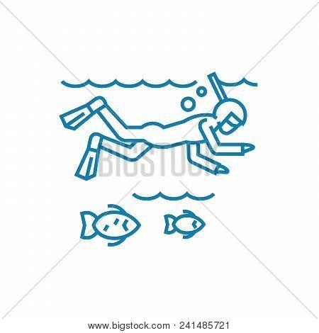 Ocean Diving Line Icon, Vector Illustration. Ocean Diving Linear Concept Sign.