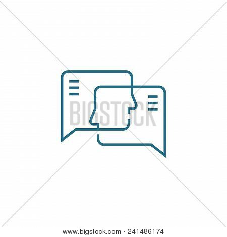 Opinion Exchange Line Icon, Vector Illustration. Opinion Exchange Linear Concept Sign.