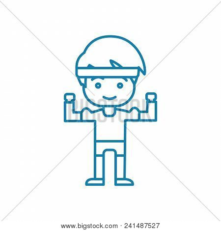 Physical Workout Line Icon, Vector Illustration. Physical Workout Linear Concept Sign.
