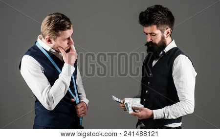 Customer, Client Paying, Counting Money, Grey Background. Expensive Sewing Service Concept. Man With