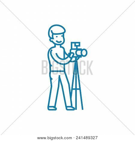 Professional Photography Line Icon, Vector Illustration. Professional Photography Linear Concept Sig