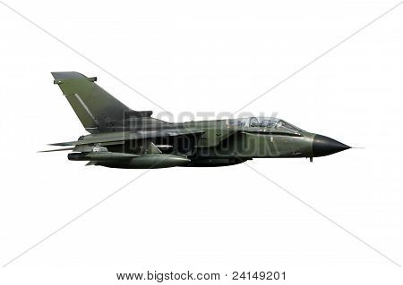 Green European fighter jet isolated on white poster