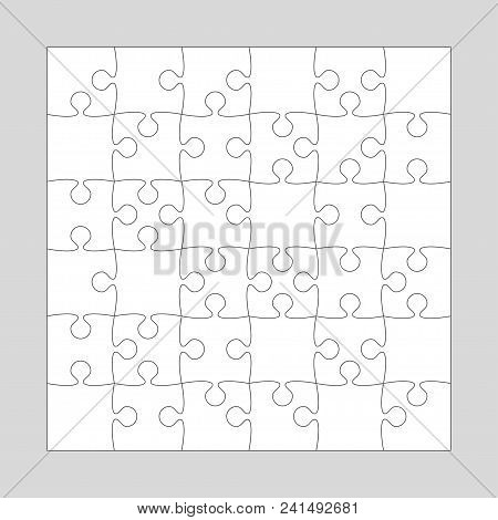 36 White Pieces Background Puzzle. Jigsaw Puzzle Banner. Vector Illustration Template Shape Abstract