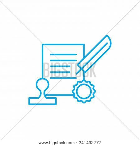 Signing The Contract Line Icon, Vector Illustration. Signing The Contract Linear Concept Sign.