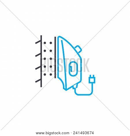 Steam Ironing Line Icon, Vector Illustration. Steam Ironing Linear Concept Sign.