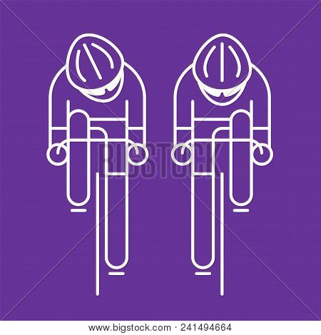 Modern Illustration Of Cyclists From Front View. White Outline Bicyclist Isolated On Violet Backgrou