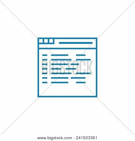 Website Content Line Icon, Vector Illustration. Website Content Linear Concept Sign.