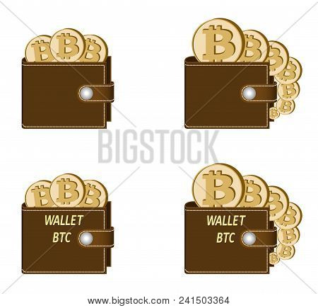 Set Of Brown Wallets With Bitcoin Coins On A White Background , Crypto Currency In The Wallet,sign