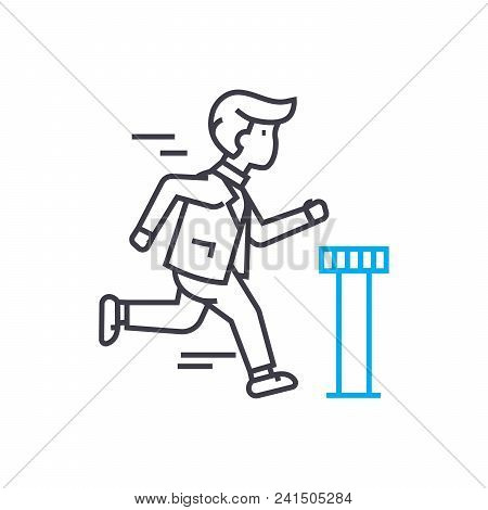 Work At An Accelerated Pace Line Icon, Vector Illustration. Work At An Accelerated Pace Linear Conce