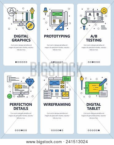 Vector Set Of Mobile App Onboarding Screens. Digital Graphics, Prototyping, A B Testing, Perfection