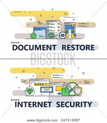 Document restore and internet security template set. Vector thin line art flat style design elements, icons for website banners and printed materials. poster