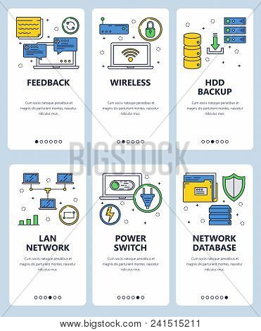Vector Set Of Mobile App Onboarding Screens. Feedback, Wireless, Hdd Backup, Lan Network, Power Swit