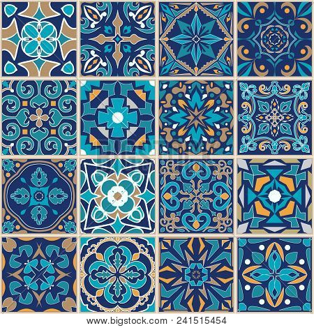 Vector Mosaic Patchwork Ornament With Square Tiles. Seamless Texture. Portuguese Azulejos Decorative