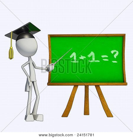3D Teacher And Green Board