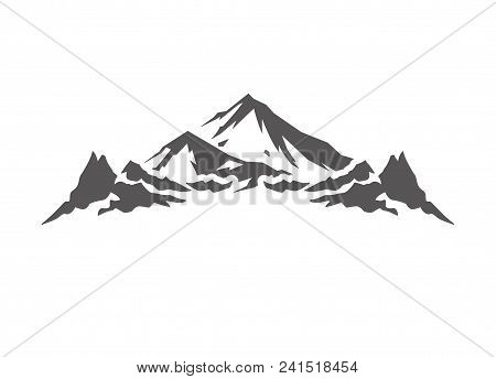 Mountain Shape Isolated On White Background Vector Illustration. Mountain Hills Vector Graphic Silho
