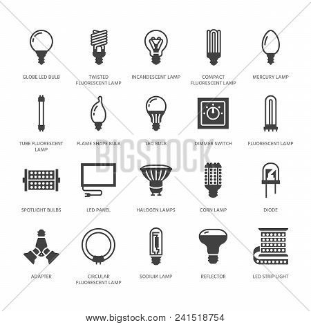 Light Bulbs Flat Glyph Icons. Led Lamps Types, Fluorescent, Filament, Halogen, Diode And Other Illum
