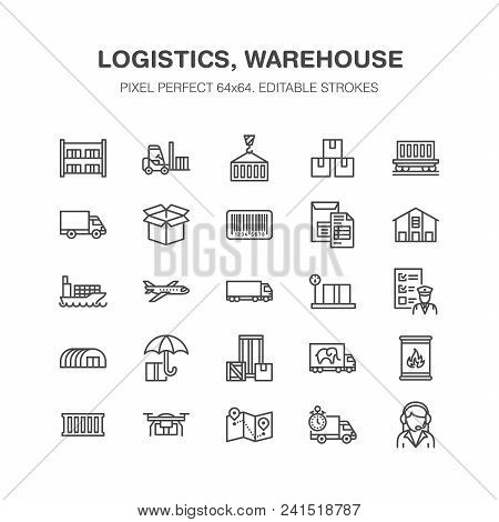 Cargo Transportation Flat Line Icons Trucking, Express Delivery, Logistics, Shipping, Customs Cleara