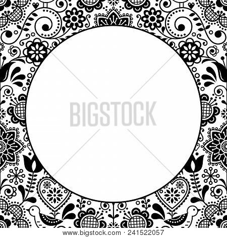 Scandinavian Folk Heart Design Greeting Card Or Birthday Or Wedding Invitation, Floral Vector Patter