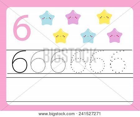 Handwriting Practice. Learning Numbers With Cute Characters. Number Six. Educational Printable Works