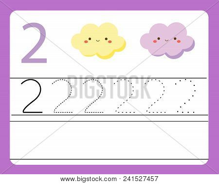 Handwriting Practice. Learning Numbers With Cute Characters. Number Two. Educational Printable Works