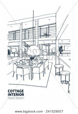 Freehand Drawing Of Residential House Or Summer Cottage Interior Furnished In Trendy Scandic Style.