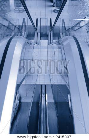 Empty Escalators In The Multilevel Shopping Mall