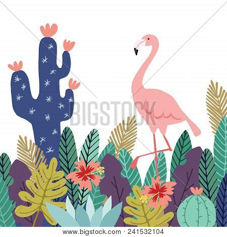 Summer Tropical Background, Banner. Flamingo Bird With Cactuses, Succulent Plants, Palm Leaves And F