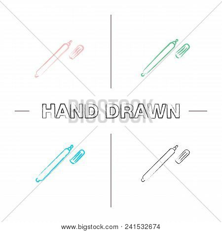 Marker Pen Hand Drawn Icons Set. Highlighter. Color Brush Stroke. Isolated Vector Sketchy Illustrati