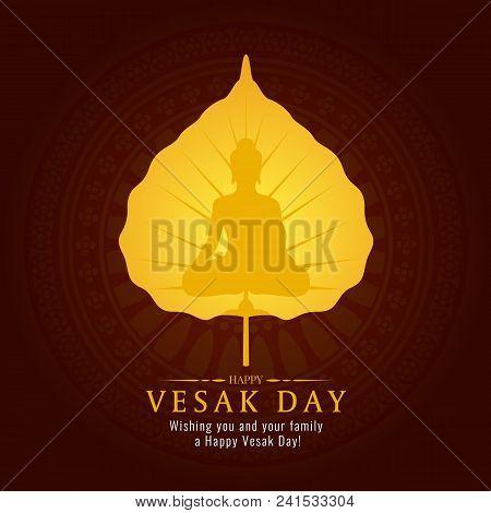 Vesak Day Banner Card With Gold Buddha Sign On Gold Bodhi Leaf Vector Design