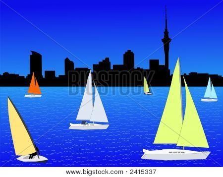 Auckland Skyline With Yachts