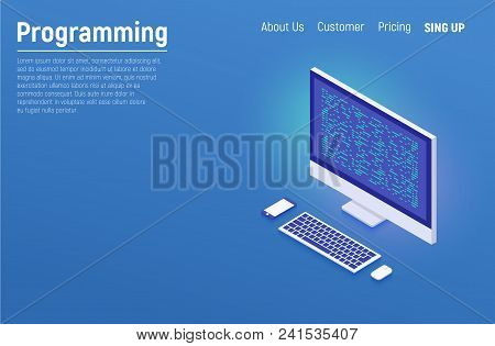 Programming And Software Development, Program Code On Laptop Screen, Big Data Processing, Computing
